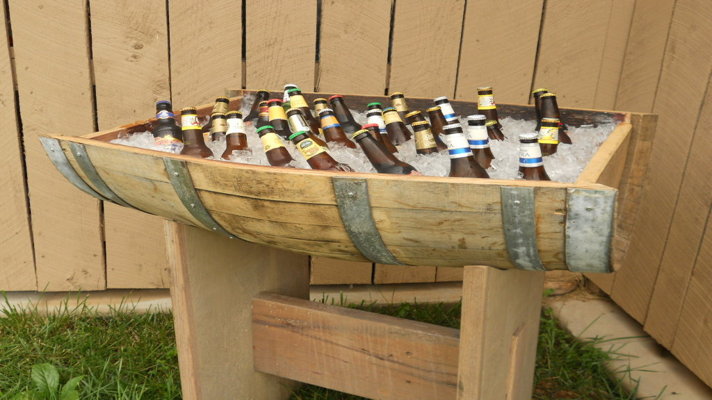 Wine barrel beverage display
